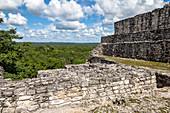 Calakmul temple grounds in the jungle, Yucatan Peninsula, Mexico
