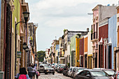 Restored colorful colonial style buildings in the streets of Campeche, Yucatan Peninsula, Mexico