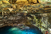 Cenote Samula - open karst cave filled with water in Tulum. Quintana Roo, Yucatan Peninsula, Mexico