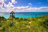 """View over coastline and turquoise water from """"Isla Mujeres"""", Quintana Roo, Yucatan Peninsula, Mexico"""