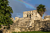 """El Castillo"" - Ancient Mayan site with rainbow, Tulum ruins, Quintana Roo, Yucatan Peninsula, Mexico"