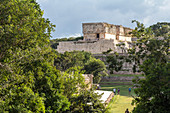 Ancient buildings on the site of the ancient Mayan city of Uxmal, Yucatan, Mexico