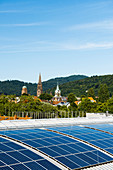 City view with Freiburg Minster and photovoltaic system, Freiburg im Breisgau, Black Forest, Baden-Württemberg, Germany