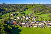 Aerial view of Bruch with castle near Wittlich, Eifel Rhineland-Palatinate Germany