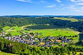Aerial view of the Meerfelder Maars, Eifel, Rhineland-Palatinate, Germany