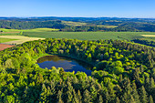 Aerial view of the volcanic crater Windsborn near Bettenfeld, Eifel, Rhineland-Palatinate, Germany
