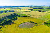 Aerial view of the Trautzberger Maars in Strohn near Gillenfeld, Eifel, Rhineland-Palatinate, Germany