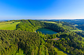 Aerial photograph of the Gemündener Maars near Daun, Eifel, Rhineland-Palatinate, Germany