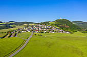 Aerial view of Olbrück Castle with grove near Niederdürenbach, Eifel, Rhineland-Palatinate, Germany