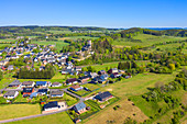 Aerial view of Kerpen with castle, Eifel, Rhineland-Palatinate, Germany