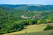 The Schmidtburg in the Hahnenbach valley, Schneppenbach, Hunsrück, Rhineland-Palatinate, Germany