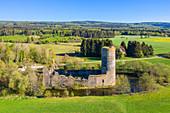 Aerial view of the castle ruins at Baldenau near Morbach, Hunsrück, Rhineland-Palatinate, Germany