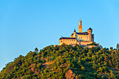 The Marksburg near Braubach in the evening light, Rhine Valley, Rhineland-Palatinate, Germany