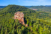 Aerial view of the Asselstein near Annweiler, Wasgau, Palatinate Forest, Rhineland-Palatinate, Germany