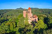 Luftaufnahme der Burg Berwartstein bei Erlenbach, Dahn, Wasgau, Pfälzer Wald, Rheinland-Pfalz, Deutschland