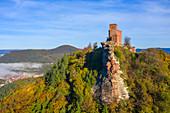 Luftaufnahme der Burg Trifels bei Annweiler, Wasgau, Pfälzer Wald, Rheinland-Pfalz, Deutschland