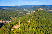Aerial view of Scharfenberg castle ruins and Trifels castle near Annweiler, Wasgau, Palatinate Forest, Rhineland-Palatinate, Germany