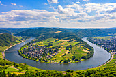 Aerial view of the Moselle loop at Krov, Moselle, Rhineland-Palatinate, Germany