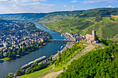 Aerial view of Landshut Castle near Bernkastel-Kues, Moselle, Rhineland-Palatinate, Germany