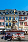 Petrusbrunnen at the main market, Trier, Mosel, Rhineland-Palatinate, Germany