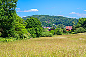 View of Kirkel with castle, Saarland, Germany