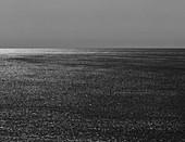 Stock image of seascape, horizon and sky at dusk, northern Oregon coast