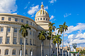 Lateral view from street of Capitol, Old Havana, Cuba