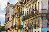 Dilapidated Cuban colonial-style house facades behind the Capitol, Old Havana, Cuba