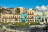 Cuban houses behind the Capitol with colorful colonial house facades, Old Havana, Cuba
