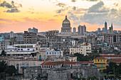 "View of ""Christ of Havana"" statue on Old Havana at sunset, Havana, Cuba"