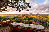 """View from restaurant """"Balcon del Valle"""" of the Vinales valley in the evening light, Pinar del Rio province, Cuba"""