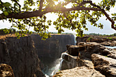 Victoria Falls from the Zambian side, view of the vertical cliffs of the river gorge, and water flowing fast.