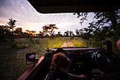 Motion blur, a safari vehicle driving on a dirt track with headlights on after sunset.