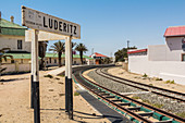Bahnhof sign in the center of Luderitz, Namibia