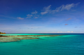 Blue Lagoon with a view over the coral reef and the vast Pacific, Fiji Islands