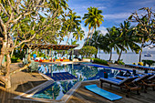 Pool area on the beach of the Pacific, Jean-Michel Cousteau Resort, Savusavu, Fiji Islands
