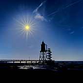 Midnight sun on the North Sea, Dorum, Lower Saxony, Germany