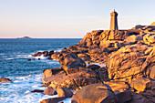 Men Ruz Cote de Granit Rose lighthouse, Brittany France