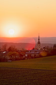 Sunset at Abtswind, Kitzingen, Franconia, Bavaria, Germany, Europe