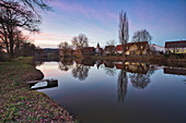 View of the village pond in Birklingen, Iphofen, Kitzingen, Lower Franconia, Franconia, Bavaria, Germany, Europe
