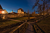 Herrengraben in Iphofen at the blue hour, Kitzingen, Lower Franconia, Franconia, Bavaria, Germany, Europe