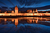 City wall in Dinkelsbühl at blue hour, Ansbach, Middle Franconia, Franconia, Bavaria, Germany, Europe