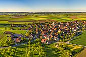 Aerial view of Dornheim in Hellmitzheim Bay, Iphofen, Kitzingen, Lower Franconia, Franconia, Bavaria, Germany, Europe