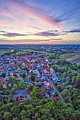 Aerial view of Sickershausen at the blue hour, Kitzingen, Lower Franconia, Franconia, Bavaria, Germany, Europe