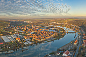 View of the southern triangle of the Main, Segnitz, Marktbreit, Kitzingen, Lower Franconia, Franconia, Bavaria, Germany, Europe