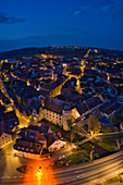 Aerial view of Marktbreit at the blue hour, Kitzingen, Lower Franconia, Franconia, Bavaria, Germany, Europe