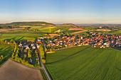 Aerial view of Nenzenheim, Kitzingen, Lower Franconia, Franconia, Bavaria, Germany, Europe