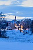 Possenheim in the snow, Kitzingen, Lower Franconia, Franconia, Bavaria, Germany, Europe