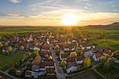 Aerial view of Possenheim, Kitzingen, Lower Franconia, Franconia, Bavaria, Germany, Europe