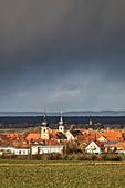 Bad weather front over Rödelsee, Kitzingen, Lower Franconia, Franconia, Bavaria, Germany, Europe